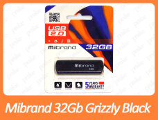 USB флеш накопитель Mibrand 32Gb Grizzly Black 32GB (MI2.0/GR32P3B)
