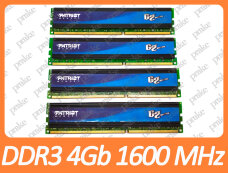 Б/У DDR3 16GB (4x4Gb) 1600 MHz (12800) Intel/AMD Patriot PGQ316G1600ELQK